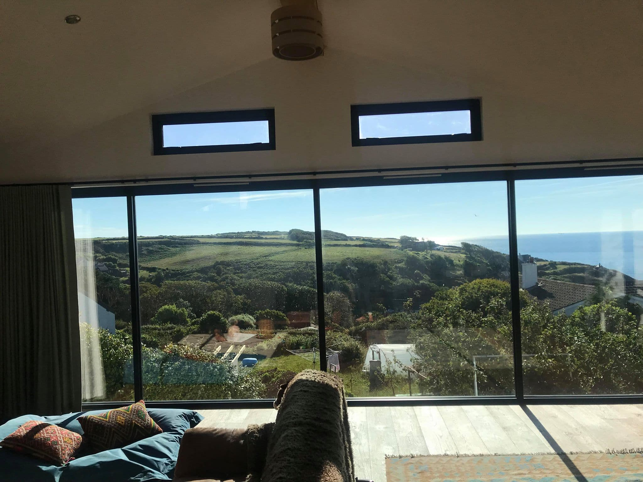View from a home over the seaside in cornwall