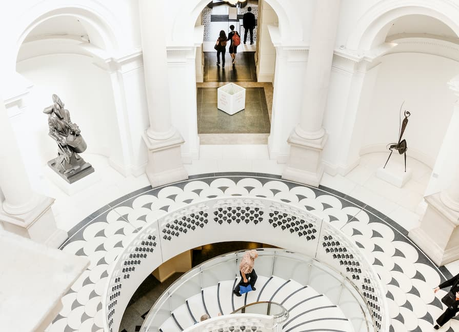 Winding staircase in Tate Britain in London.