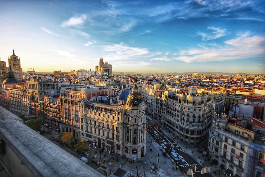 Rooftop view of Madrid's streets