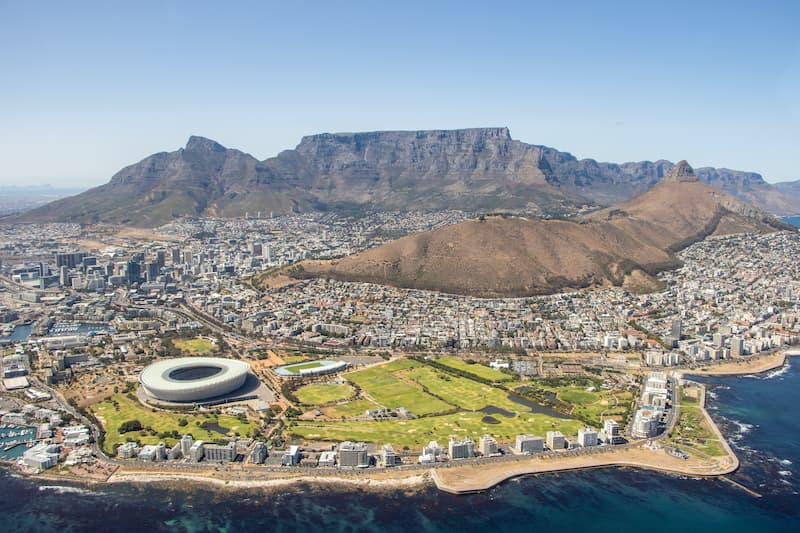 Panoramic view of Cape Town from above