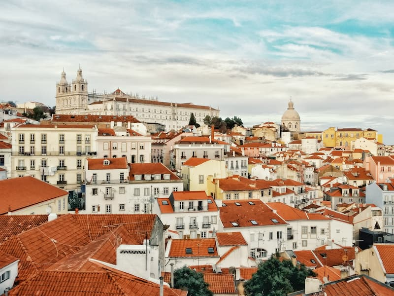 View of terracotta rooftops in the Alfama, Lisbon