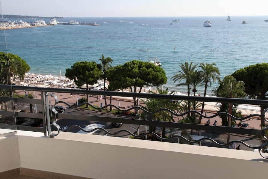 View from a balcony overlooking La Croisette in Cannes