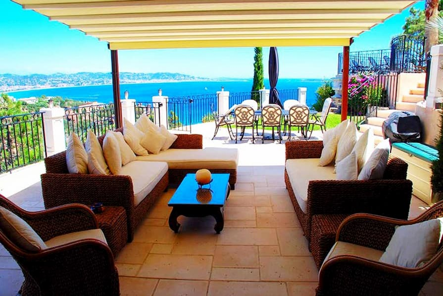 Outdoor terrace with a view of the Mediterranean