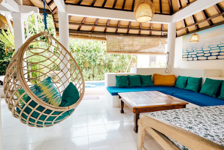 Colourful outdoor terrace at property in Bali