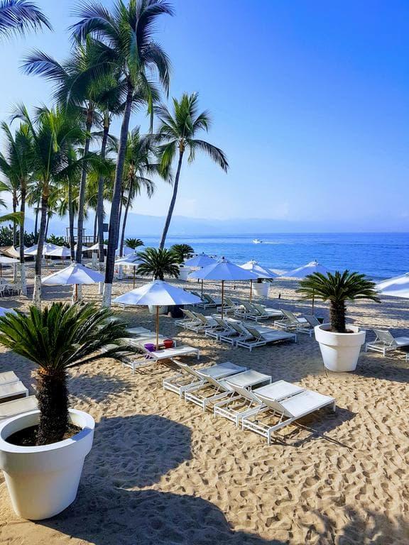 Sandy beach club at Puerto Vallarta in Mexico